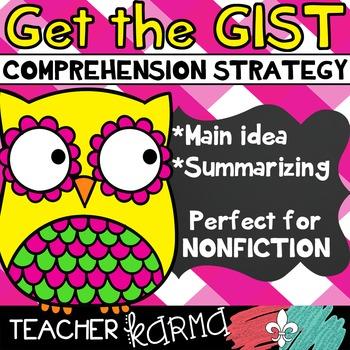 Get the Gist ~ Comprehension Strategy ~ Main Idea ~ Summary ~ RTI