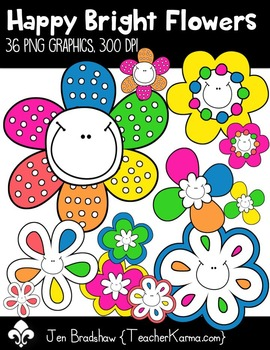 Happy Bright Flowers Clip Art ~ Commercial OK