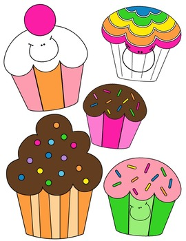 Happy Cupcakes Clip Art ~ Commercial OK