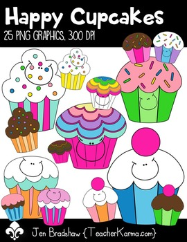 Happy Cupcakes Clip Art ~ Commercial OK