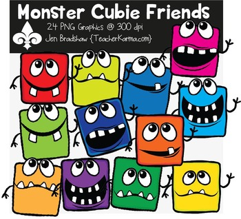 Monster Cubie Friends Clipart ~ Commercial Use OK