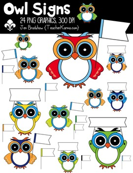 Owl Signs & Banners Clipart ~ Commercial Use OK ~ School