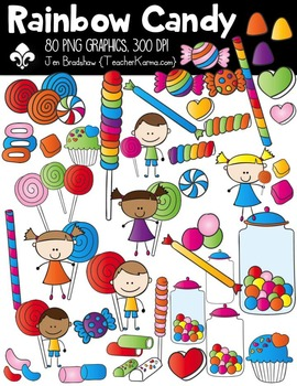 Rainbow Candy Clipart BUNDLE ~ Commercial Use OK