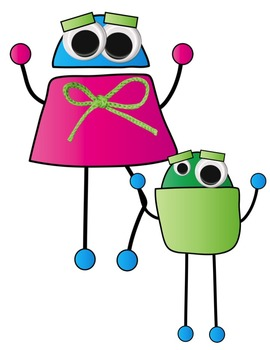 Neon Robot Friends Clip Art ~ Commercial OK ~ Monsters