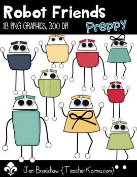 Preppy Robot Friends Clip Art ~ Commercial OK ~ Monsters