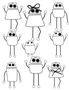 Preppy Robot Friends Clip Art ~ Commercial OK ~ Monsters