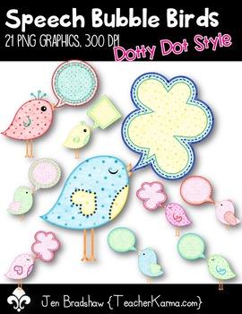 Speech Bubble Birds Clip Art ~ Commercial Use OK ~ Dotty Dots