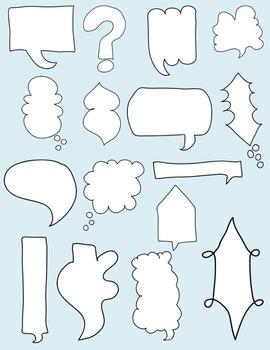 Speech Bubble Doodles Clipart ~ Commercial Use