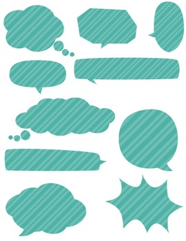 Speech Bubbles * Teal * ~ Commercial Use ~ Dots ~ Stripes