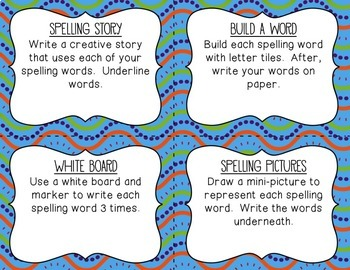 Spelling Task Cards ~ ANY Spelling List ~ Literacy Center