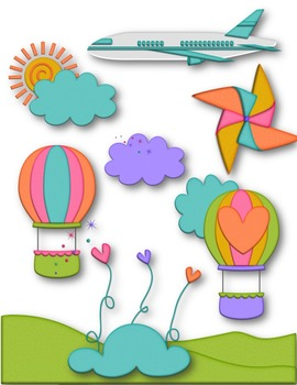 Up Up & Away Clip Art ~ Hot Air Balloon ~ Rainbow ~ Spring