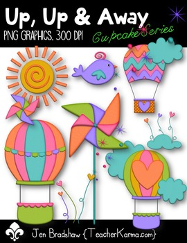 Up Up & Away Clip Art ~ Hot Air Balloon ~ Rainbow ~ Spring