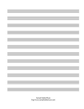 12-stave blank musical staff paper