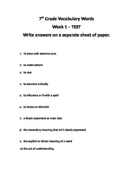 12 weeks of 7th grade vocabulary hw and tests - Common Core