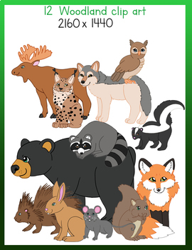 12 woodland animals clip art
