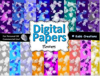12 x 12 in Digital Papers in a Flower Pattern