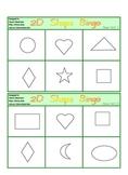 12 x 2D Shape Bingo Games - 12 pages