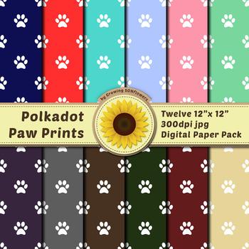 12 12x12 Digital Paper Set: Polkadot Paw Print; Scrapbooking, Backgrounds, Dog
