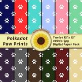 12 12x12 Digital Paper Set: Polkadot Paw Print; Scrapbooki