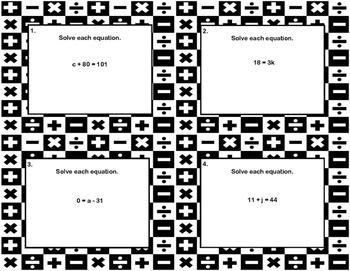 120 Algebra Task Cards- Solving  Equations Using All Four Operations Grade 6