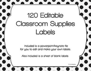 120 Black & White Classroom Supplies Labels with Editable File