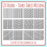 120 Board with Times Table / Skip Counting Numbers Missing Clip Art Set