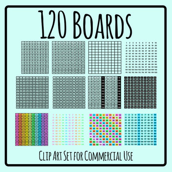 120 Boards - One Hundred and Twenty Charts Clip Art Set Commercial Use