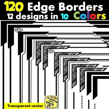 120 Borders Capped Edge Clip Art {12 designs in 10 Colors}