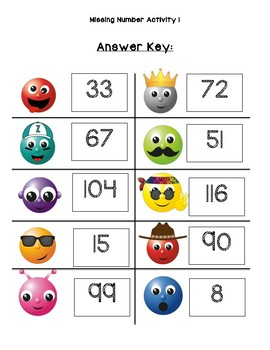 120 Chart: Missing Number Activity