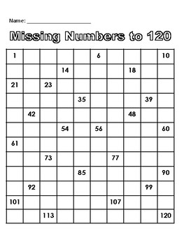 120 Chart - Missing Numbers to 120