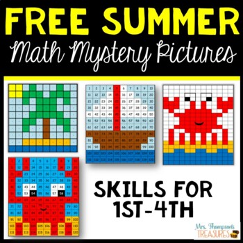 Free End of the Year / Summer Activities Math Mystery Pictures