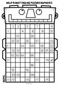 120 Chart Number Robot Worksheets Booklet