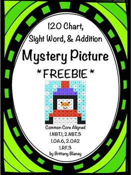Winter 120 Chart, Sight Word, & Addition Mystery Picture *