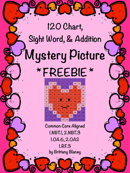 Valentine's 120 Chart, Sight Word, & Addition Mystery Pict