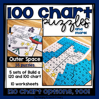 120 Chart Task Cards and Printables - Space Theme