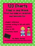 120 Chart - blank and filled in Common Core polka dots