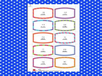 120 Decimal Task Cards (adding, subtracting, multiplying and dividing)