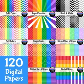 120 Digital Papers ~ Money Saving Bundle ~ Bold, Soft, B&W Colors