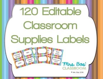 120 Editable Classroom Supply Labels