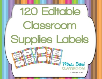 120 Editable Classroom Supply Labels