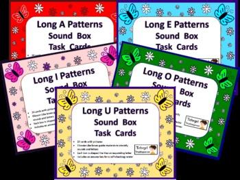 120 Elkonin Sound Box Phonics Task Cards-5 LONG VOWEL SETS