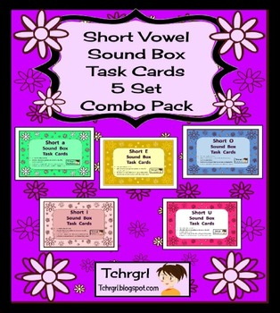 120 Elkonin Sound Box Phonics Task Cards-5 SHORT VOWEL SETS Word Work Center