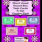 120 Elkonin Sound Box Phonics Task Cards-5 SHORT VOWEL SET