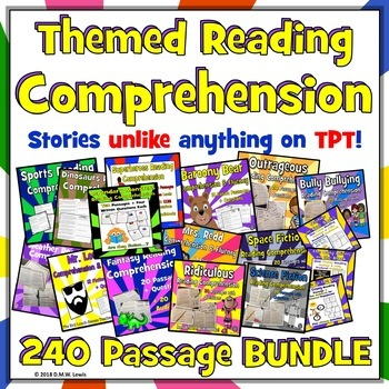 120 fiction THEMED Reading Comprehension Passages and Questions BUNDLE