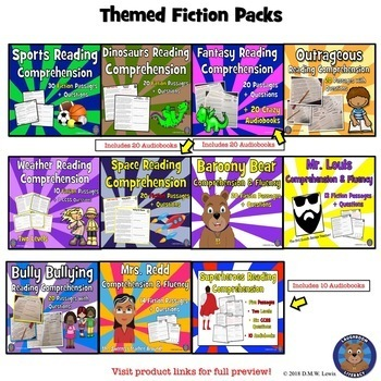 190 fiction THEMED Reading Comprehension Passages and Questions BUNDLE