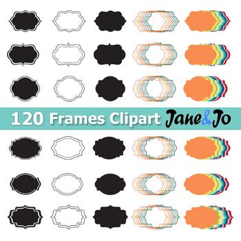 120 Frame Clipart Frame label frames clip art Tag Borders School Theme Rainbow