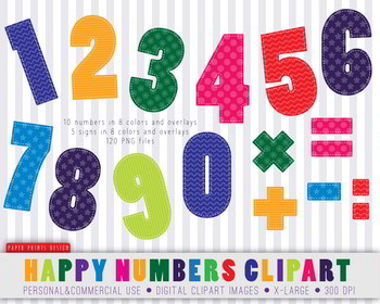 120 Happy Bright Numbers Clipart