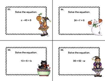 Solving Equations- All Four Operations- Grade 6- Halloween-120 Math Task Cards