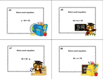 Solving  Equations- All Four Operations- Grade 6- 120 Math Task Cards-School
