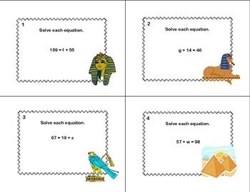 120 Math Task Cards- Solving  Equations Using All Four Operations Grade 6